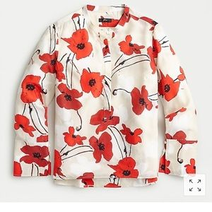 Silk tunic ivory and red poppy shirt